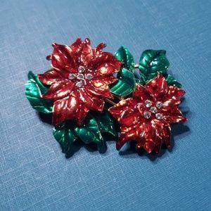 Jewelry - Vintage Christmas Poinsettia Brooch Enameled